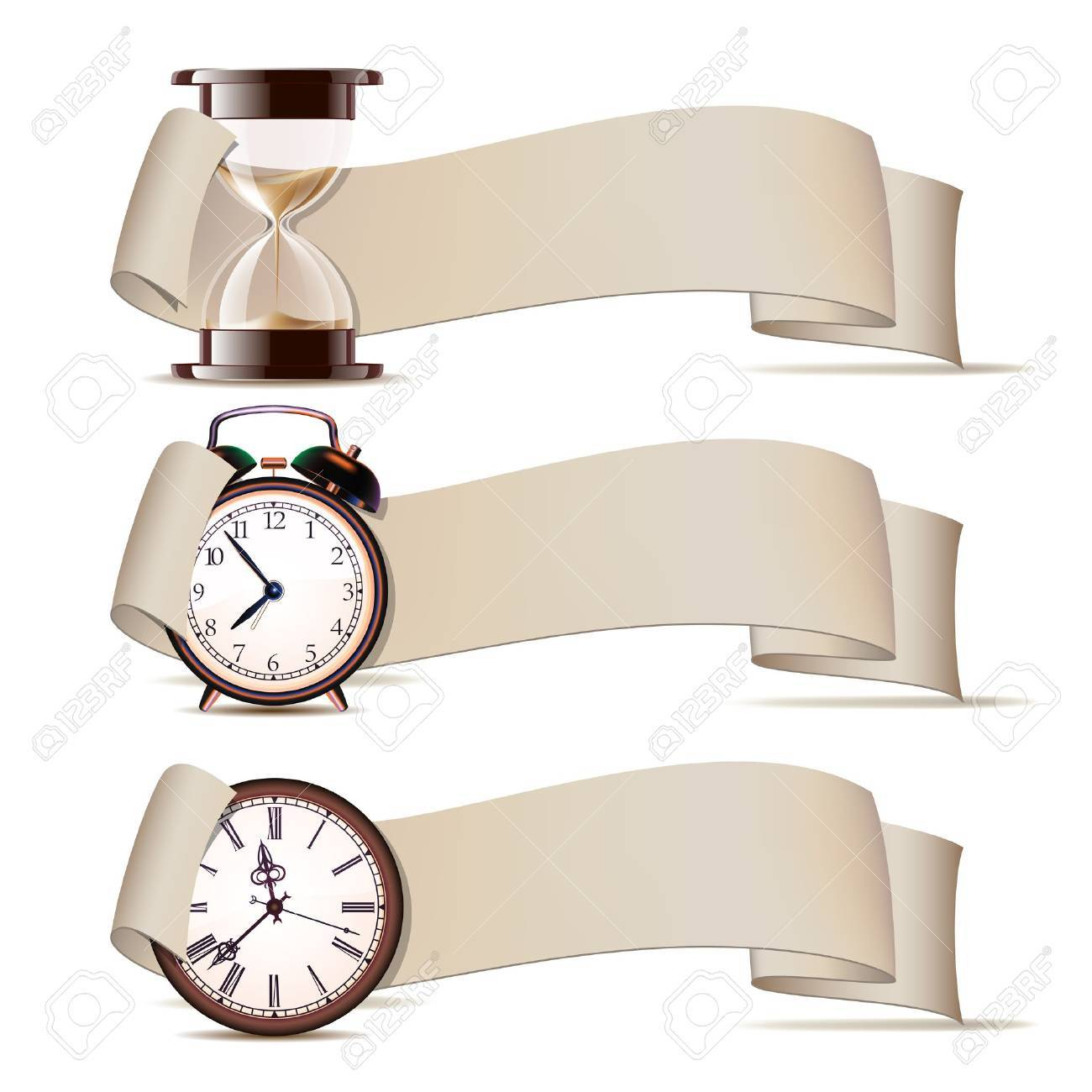 Set of banners with clocks. Vector illustration Stock Vector - 20697660