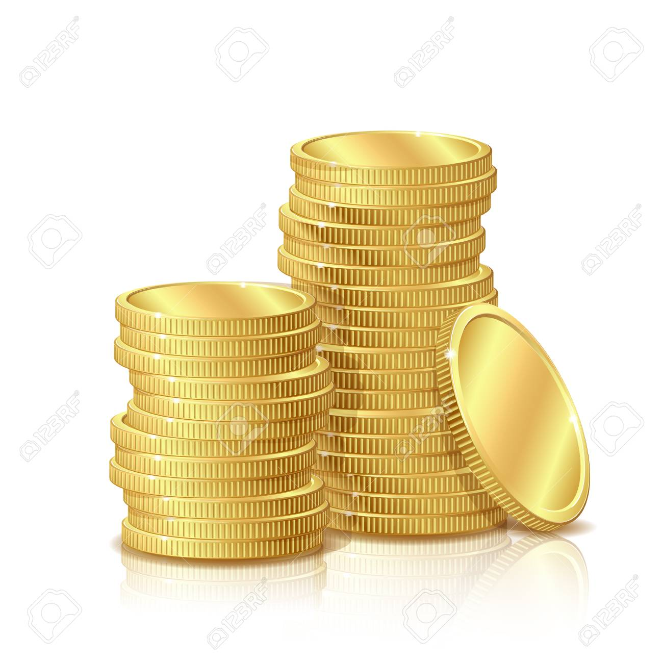 Stack of Gold Coins, isolated on white background - 30486539