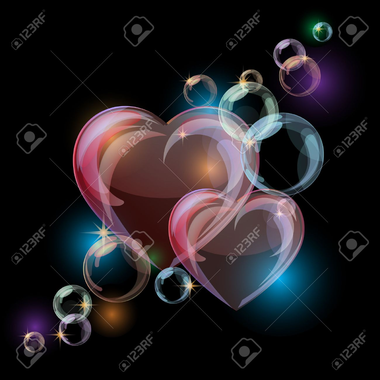 Romantic background with colorful bubble hearts shapes on black background. Vector illustration - 37984576