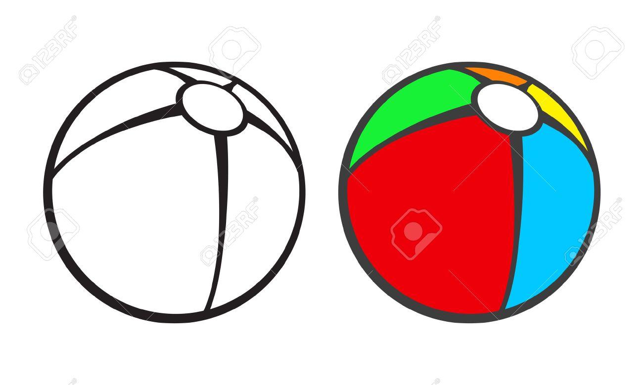 Toy Strandbal Voor Het Kleuren Van Boek Geïsoleerd Op Wit Vector Illustratie