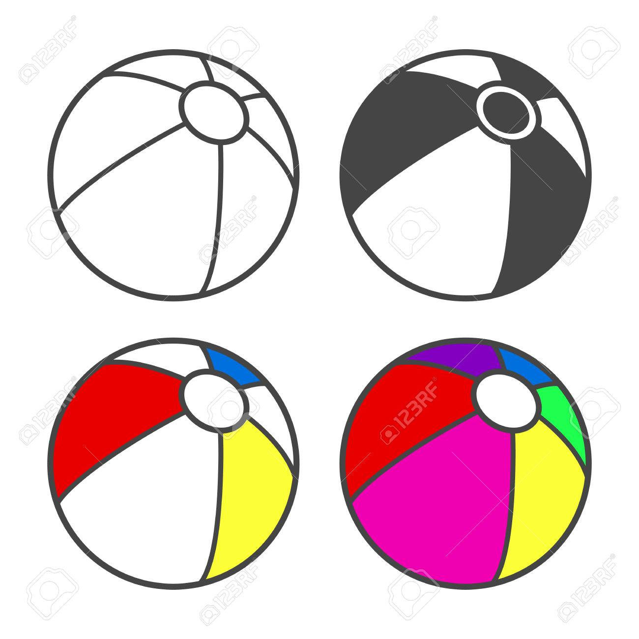 Toy Beach Ball For Coloring Book Isolated On White Vector Illustration Stock
