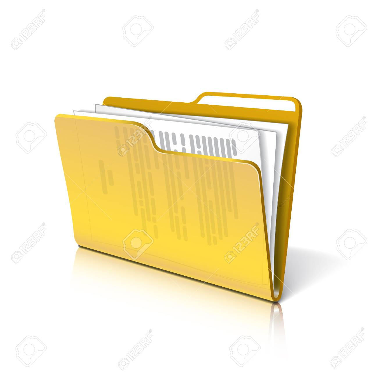 Yellow transparent folder with papers. Document icon. - 43938728