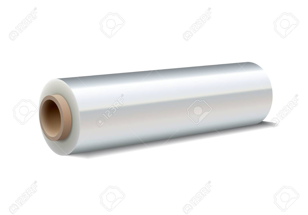 Roll of wrapping plastic stretch film on white background. Vector illustration - 48418407