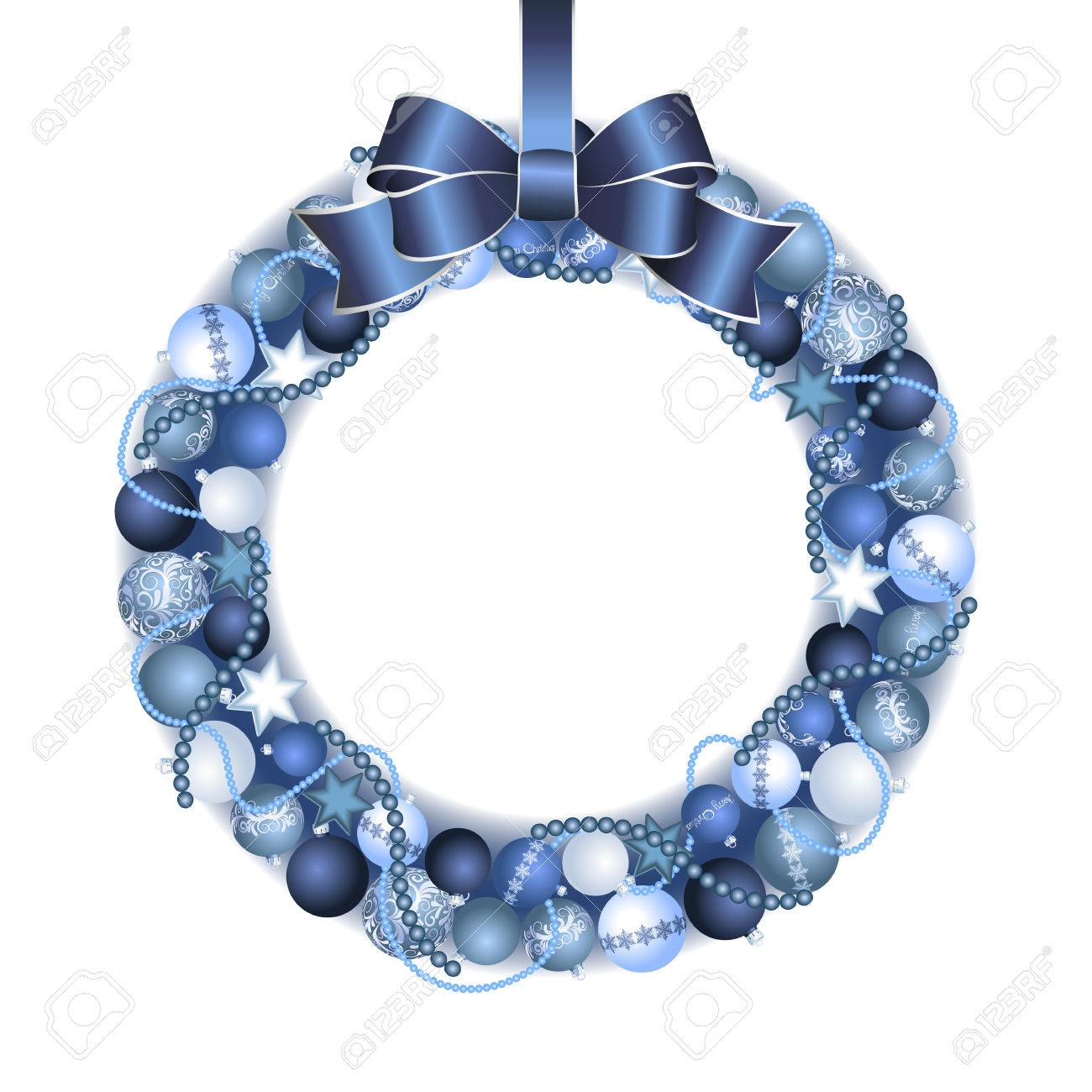 Silver Christmas Wreath.Christmas Wreath Decoration From Blue And Silver Christmas Balls
