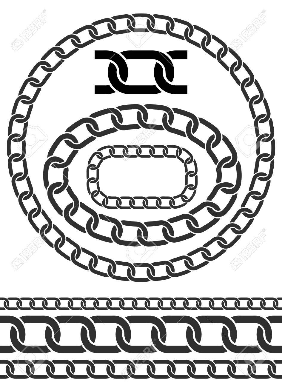 Chains illustration  Chain icons, parts, circles of chains  Pattern
