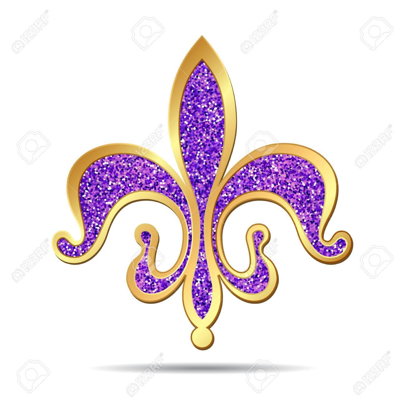 Golden and purple fleur-de-lis decorative design or heraldic symbol. illustration - 58420916