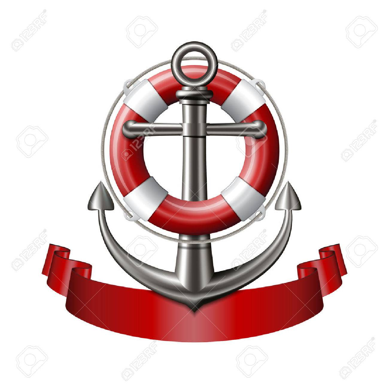 Nautical emblem with an anchor, lifebuoy and red ribbon isolated on white background. Marine summer travel banner. Vector illustration - 59786661