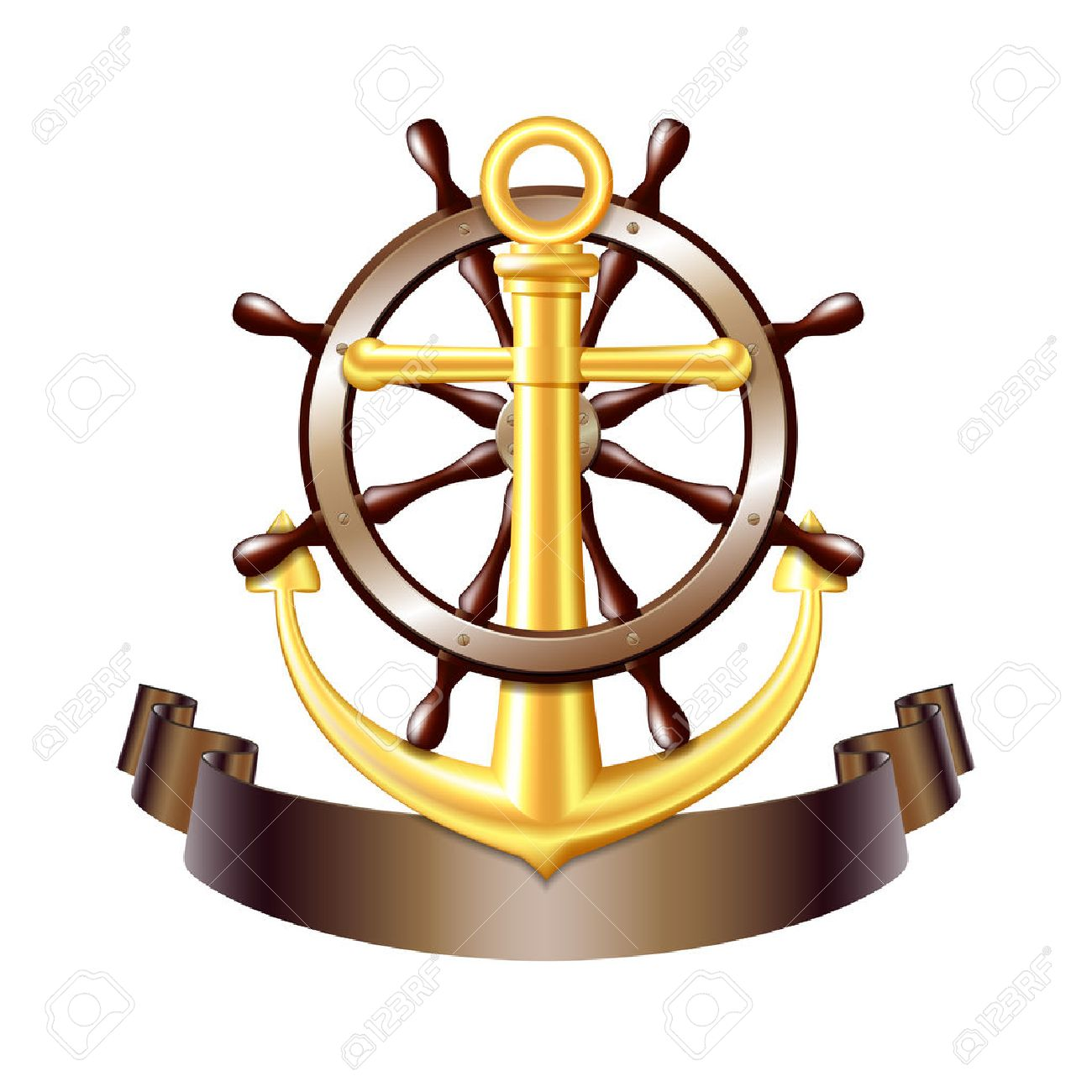 Nautical emblem with golden anchor, Steering wheel for ship and ribbon. Marine summer travel banner. Vector illustration - 61860803