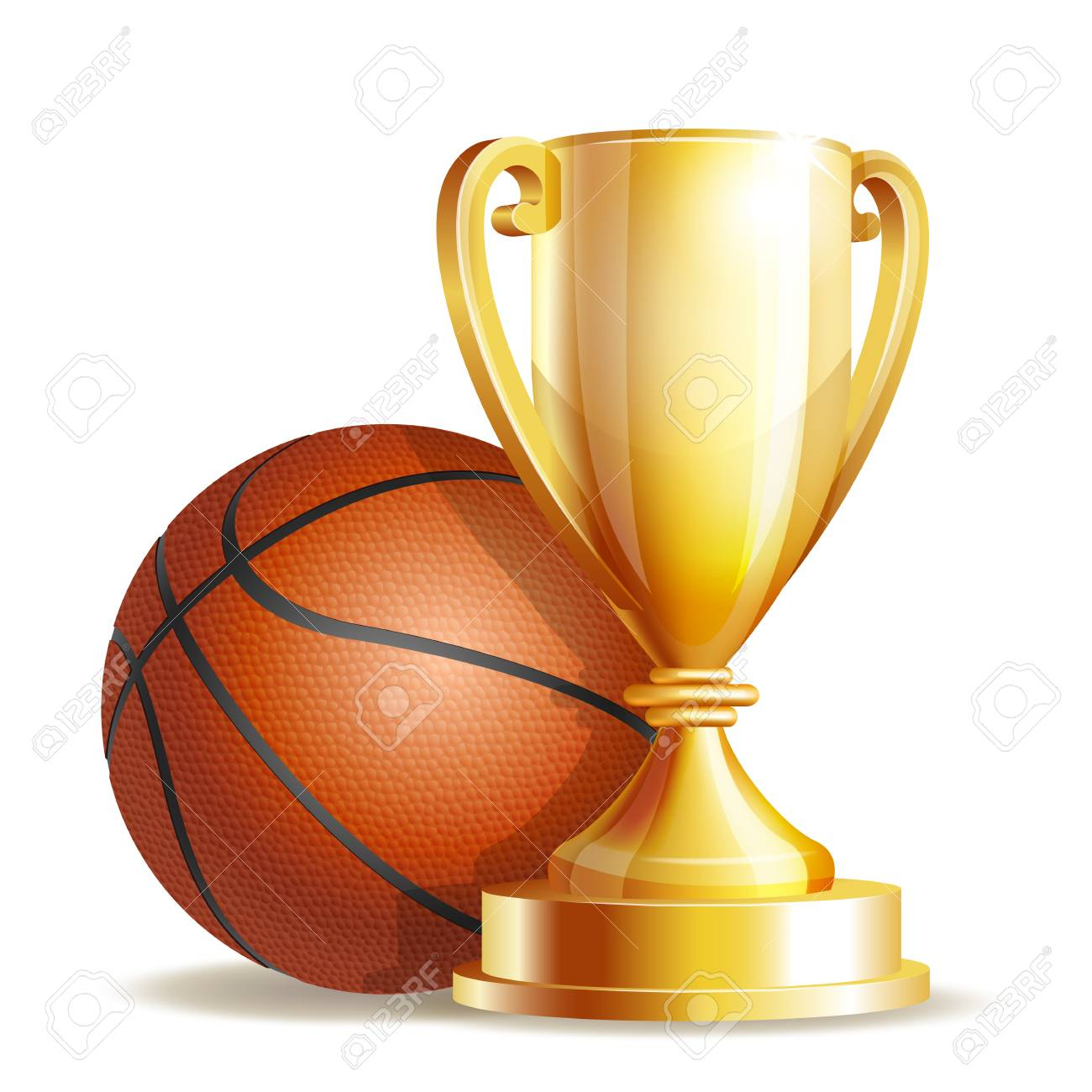 Golden Trophy Cup With A Basketball Ball Stock Photo