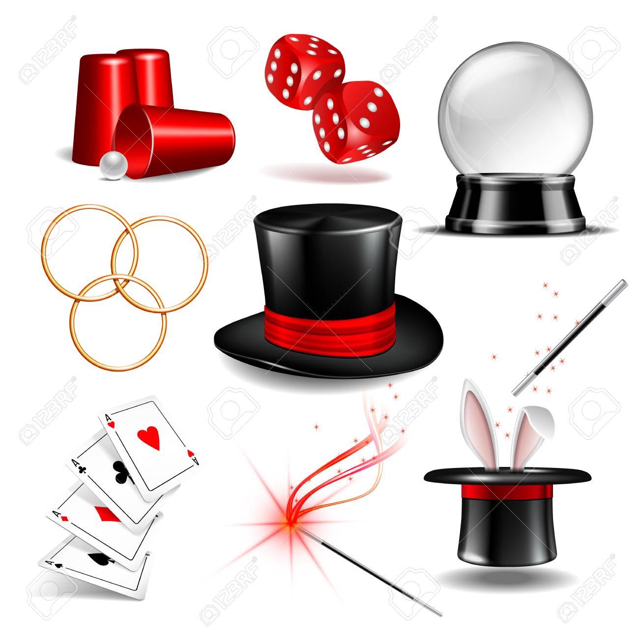 Magician symbol set vector illustration - 97712920