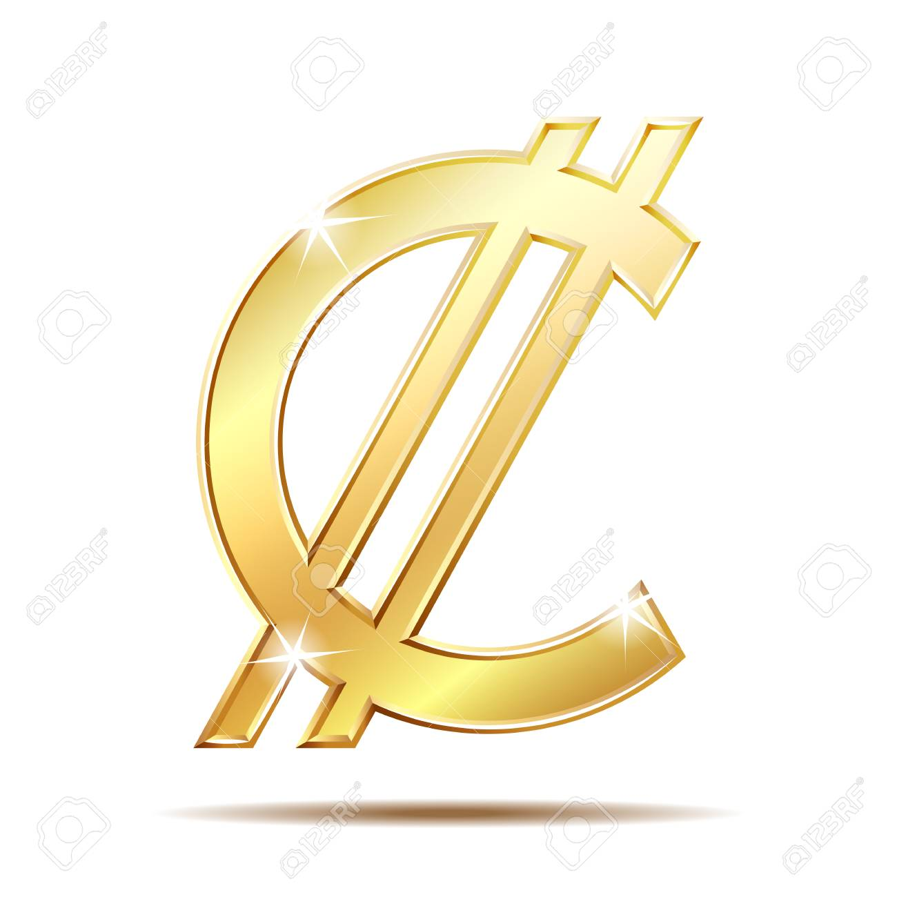 Costa Rican And Salvadoran Colon Currency Symbol Golden Money