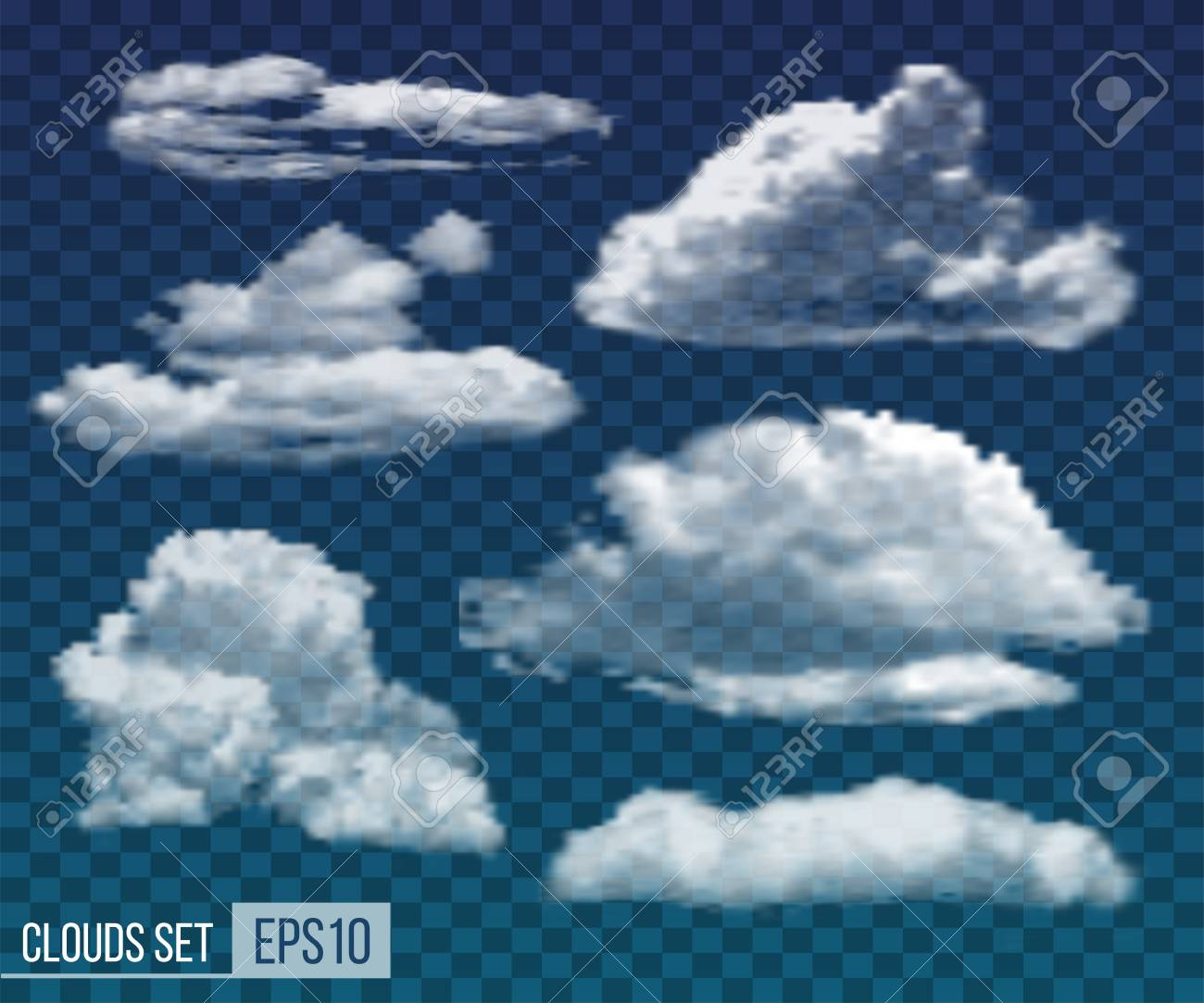 Set of realistic transparent night clouds  Vector