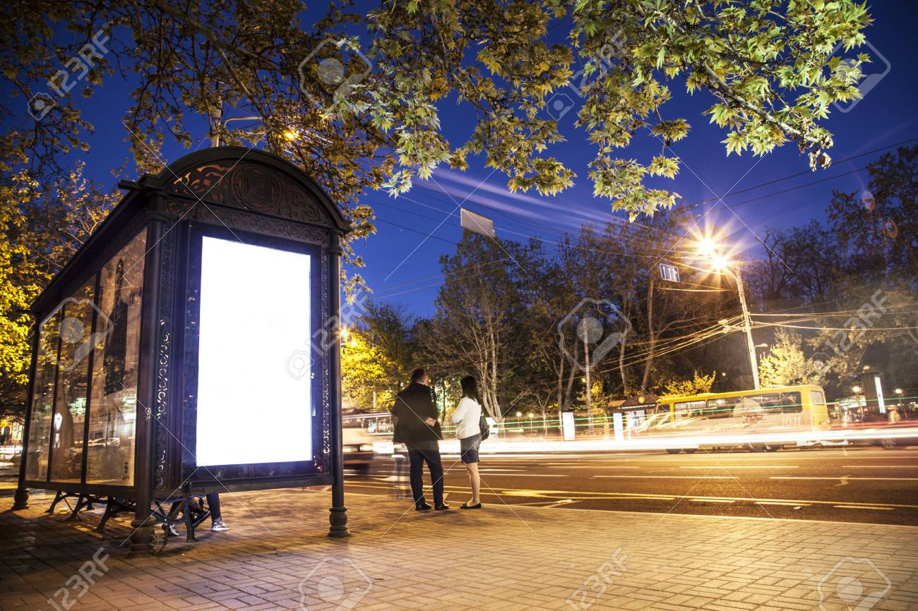 Bus Shelter Billboard at Night light Stock Photo - 68869812 & Bus Shelter Billboard At Night Light Stock Photo Picture And ...