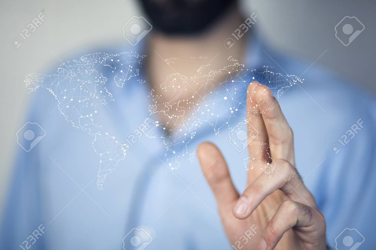 World Map On Hands.Businessman Holding World Map In Hands Stock Photo Picture And