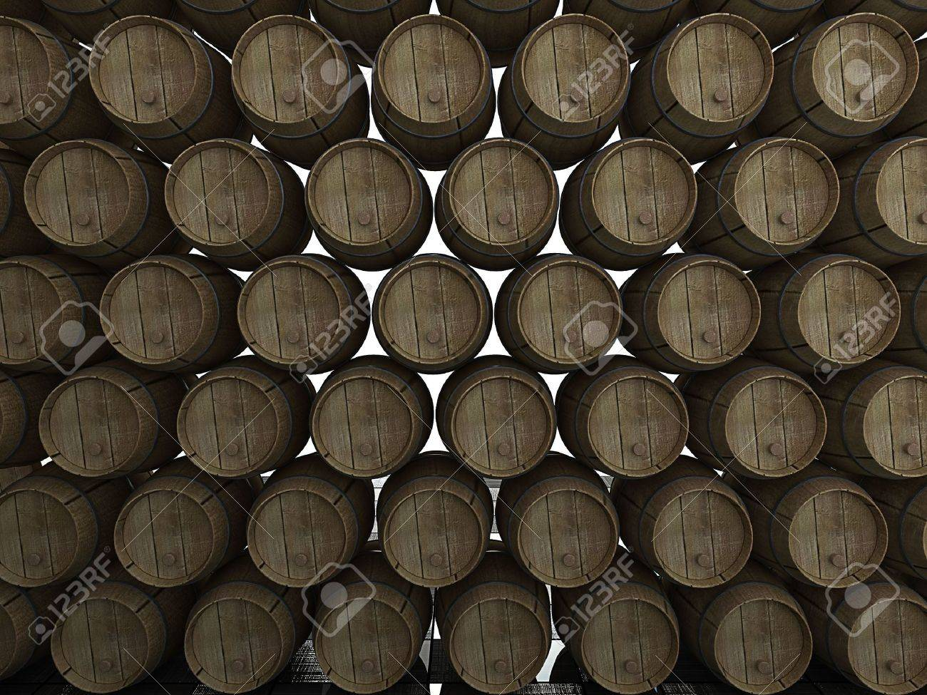 Stack of wooden wine barrels. 3d Stock Photo - 2413418