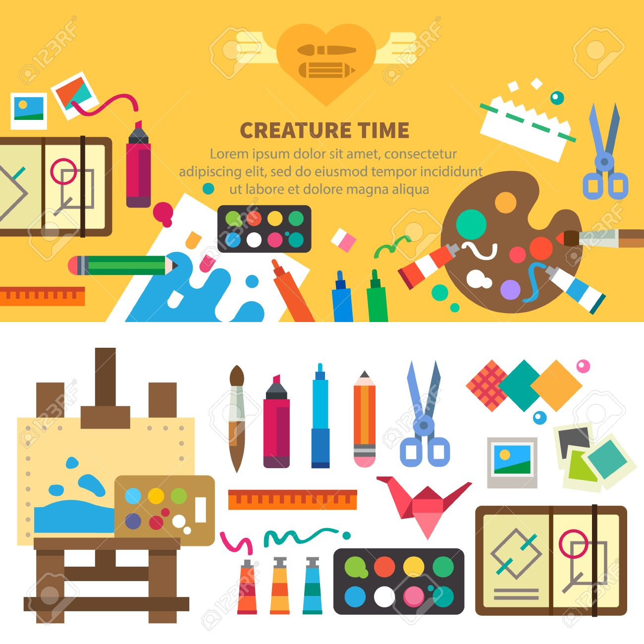 Ideas creativity design. Tools and materials: paint brushes markers