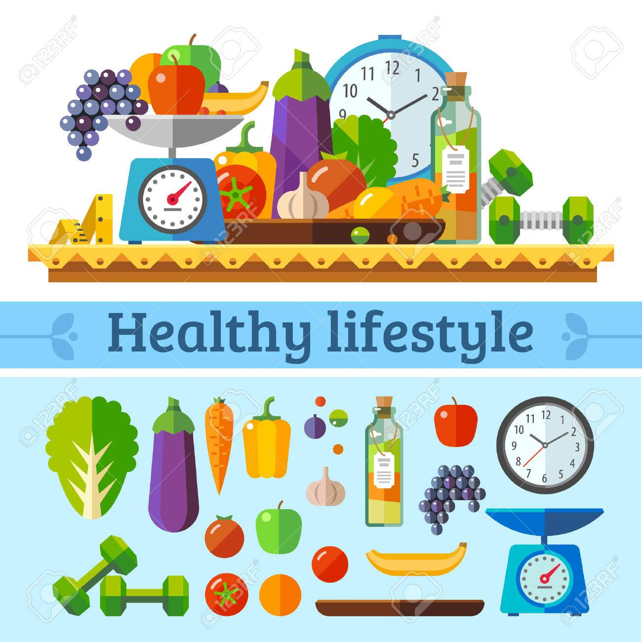Healthy lifestyle a healthy diet and daily routine. Vector flat illustration. - 40502697