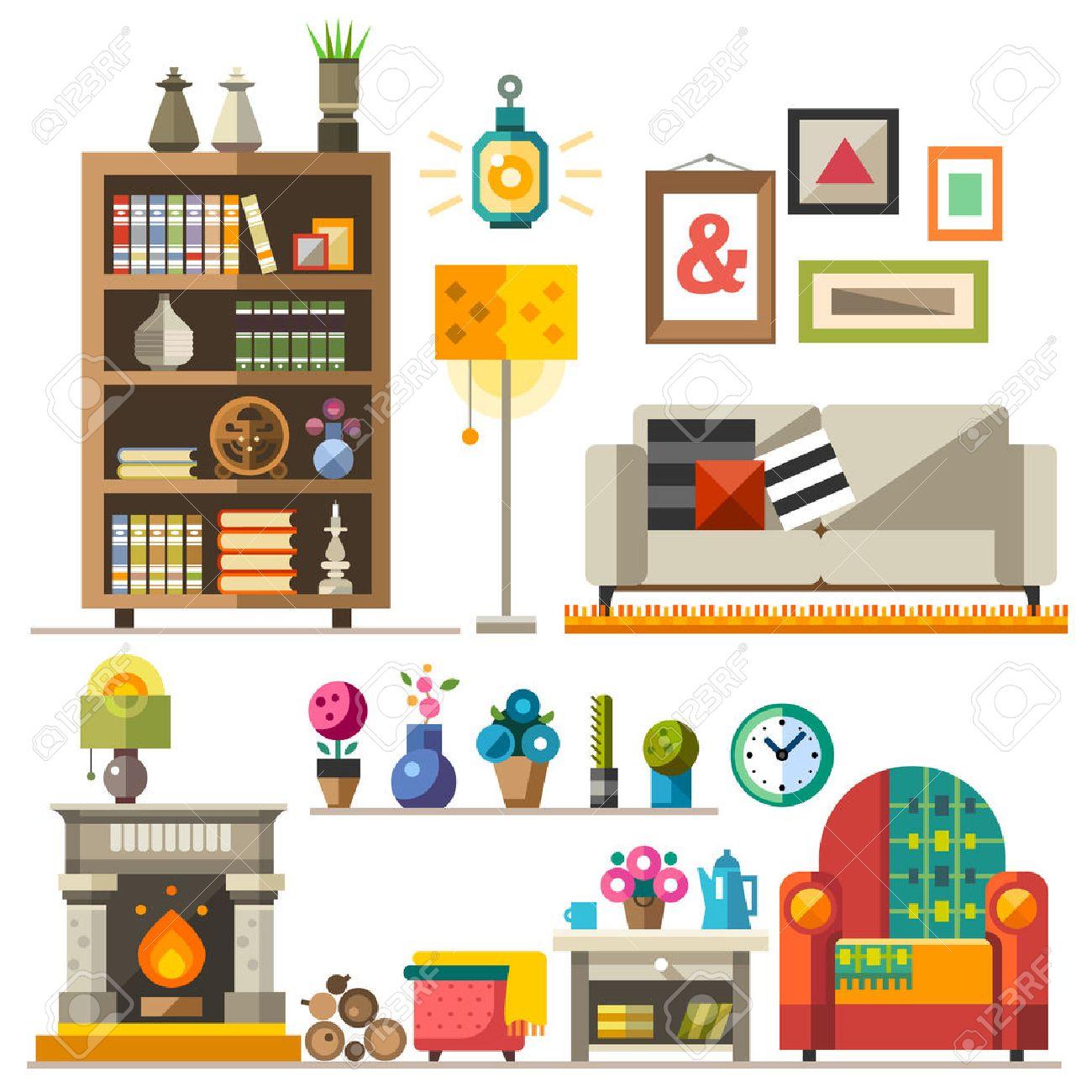 Home Furniture. Interior Design. Set Of Elements: Wardrobebookcase ...
