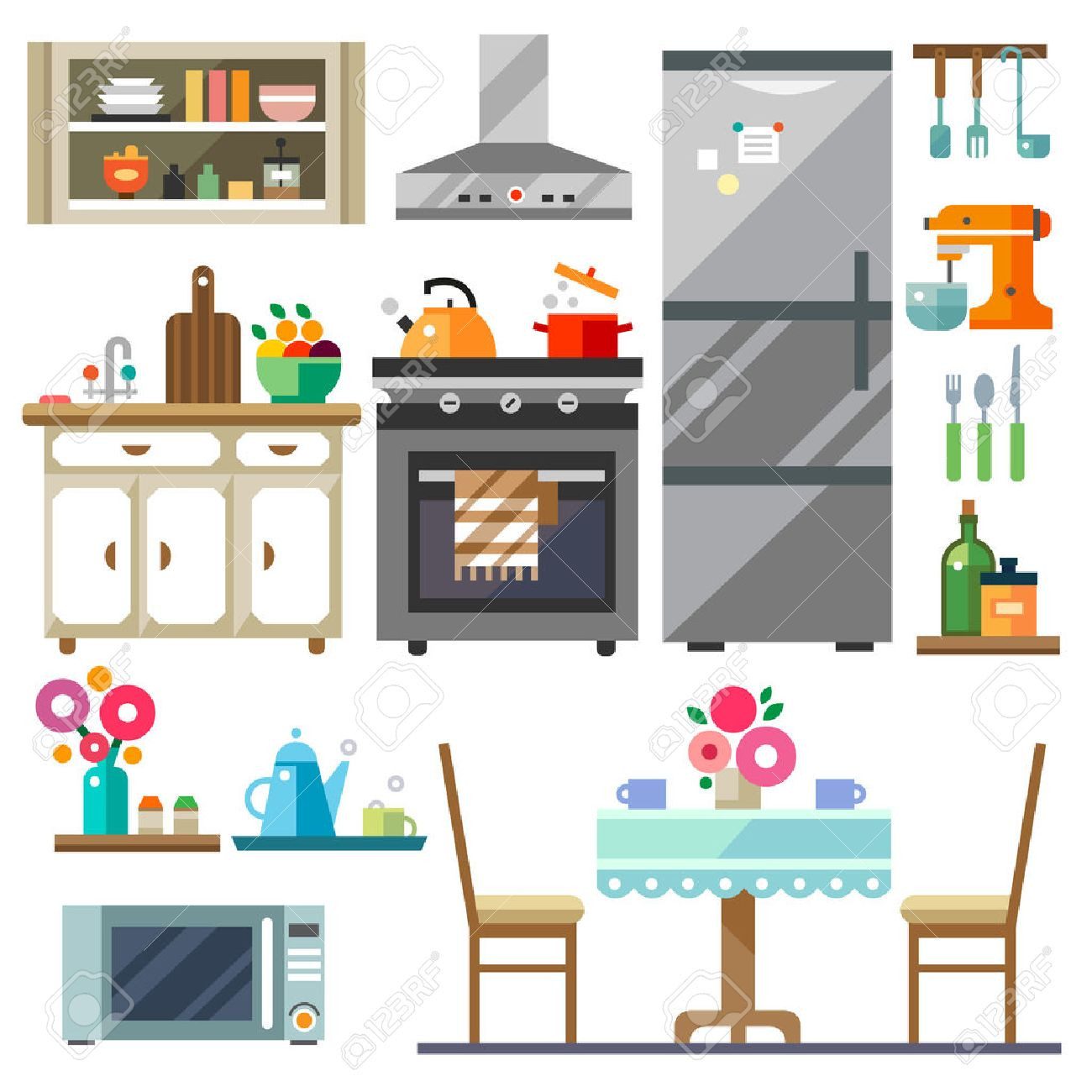 Vector Flat Illustration Home Furniture Kitchen Interior DesignSet Of Elements Refrigerator Stove Microwavecupboards Dishes Table