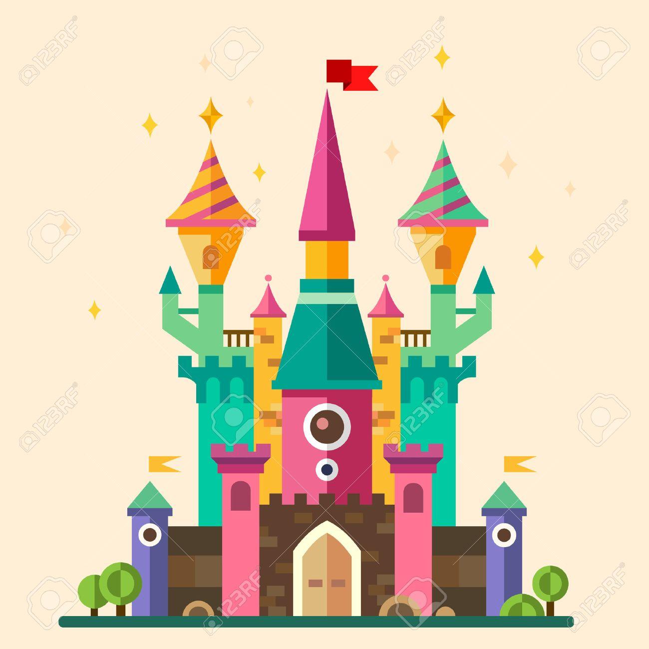 Magical fabulous cartoon castle. Vector flat illustrations - 40502793
