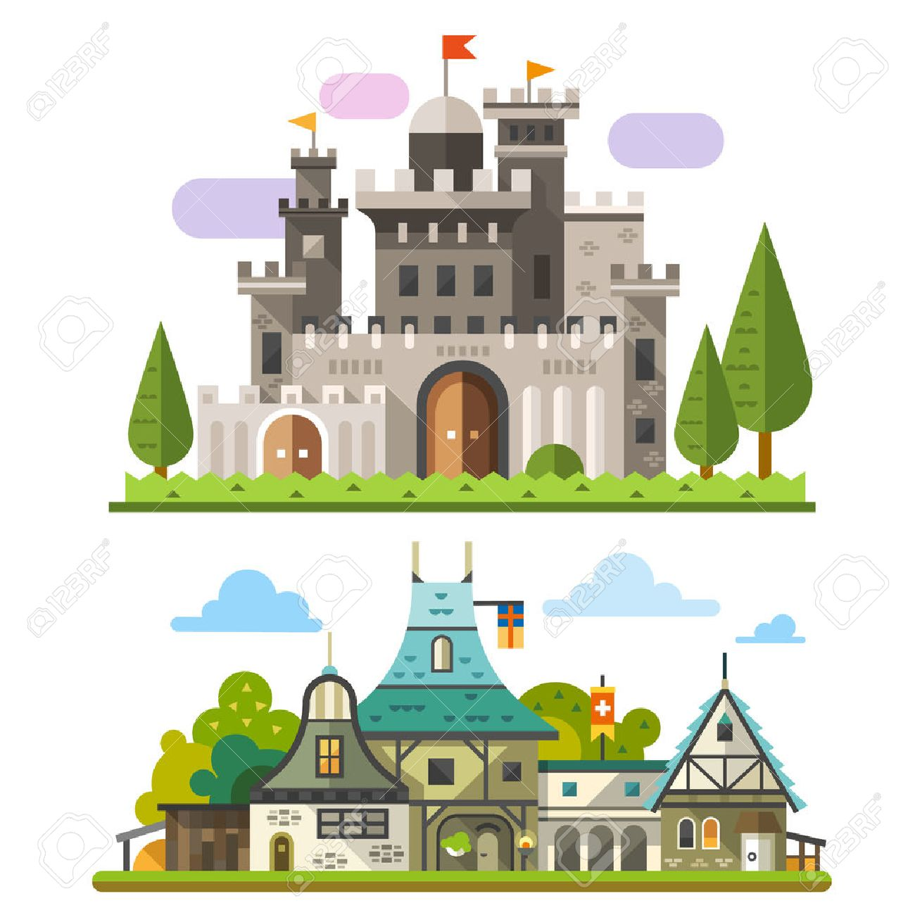 Medieval stone fortress and old timber house landscapes. Sprites for game. Vector flat illustrations - 40502888