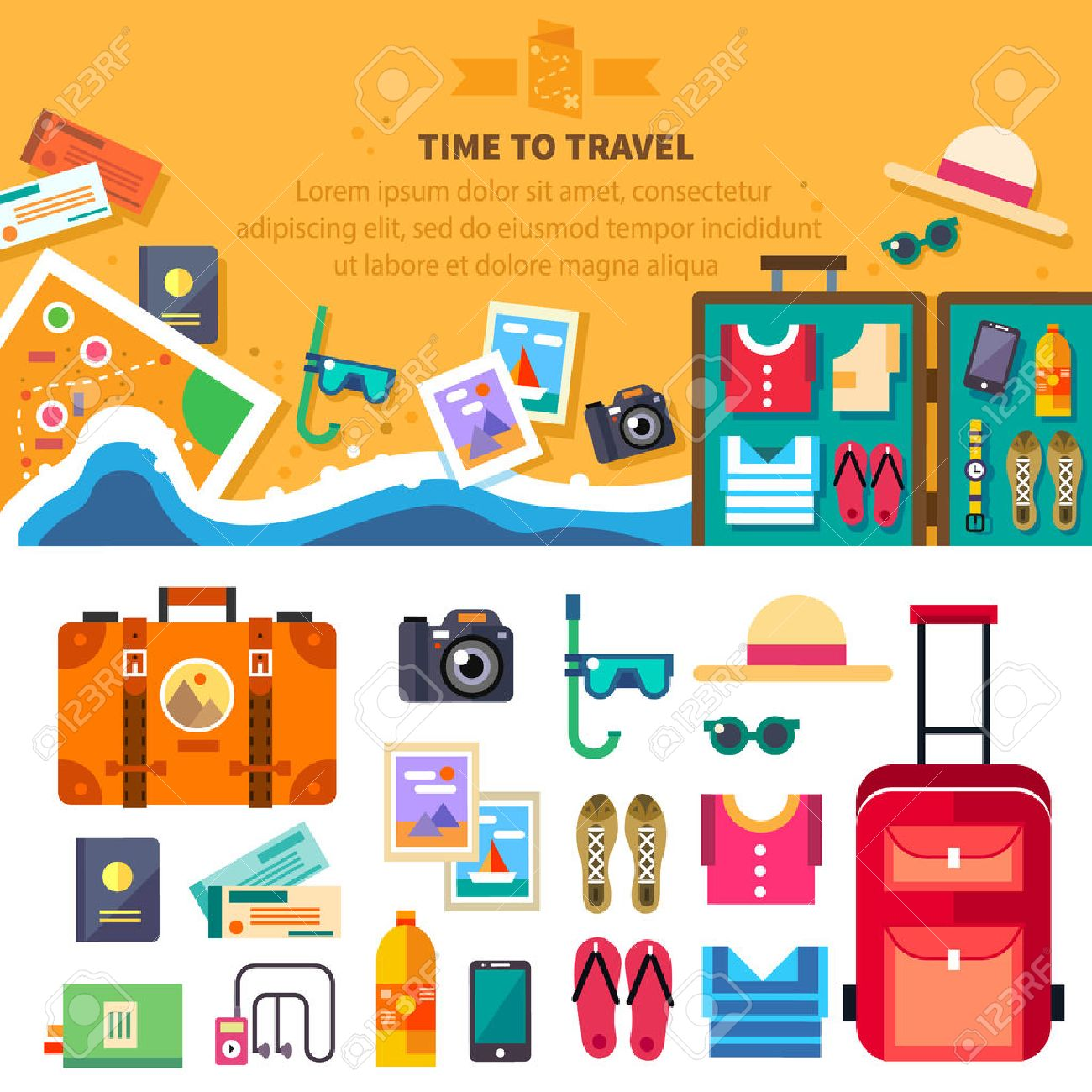 Time to travel summer vacation beach rest: sun sea waves mask hat open suitcase clothes shoes passport tickets map. Vector flat background and objects illustrations - 40866089