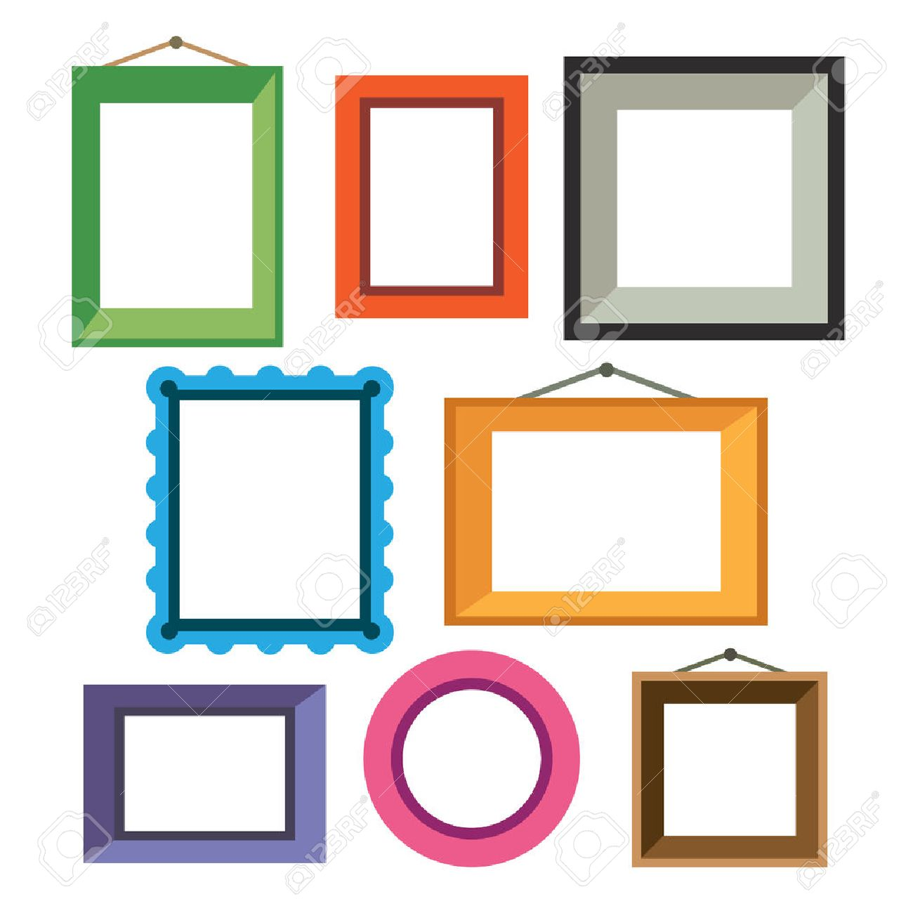 Vector Set Of Different Colorful Photo Frames In Flat Style Royalty ...