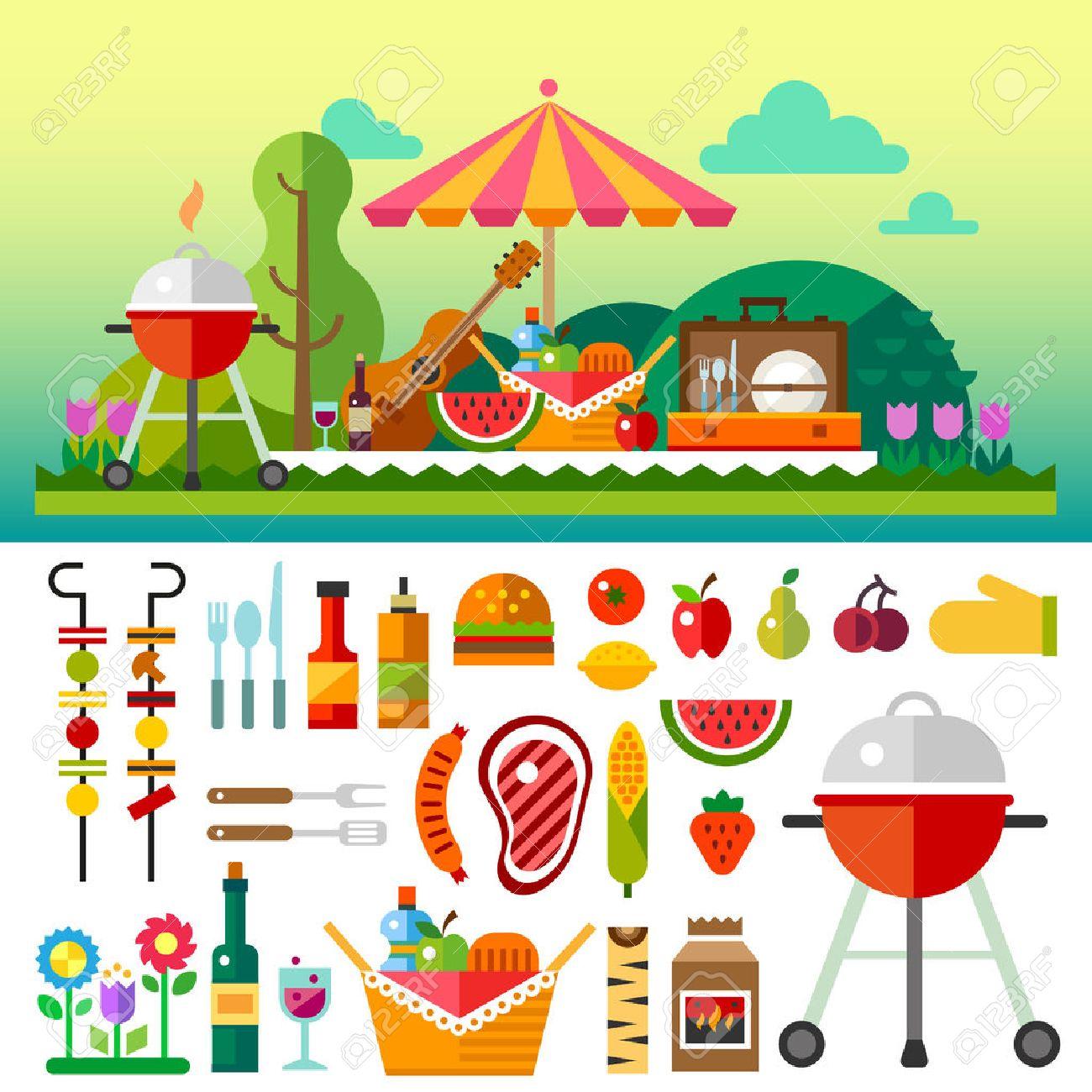 夏の花と草原でピクニック 食品フルーツ バーベキュー付き傘ギター