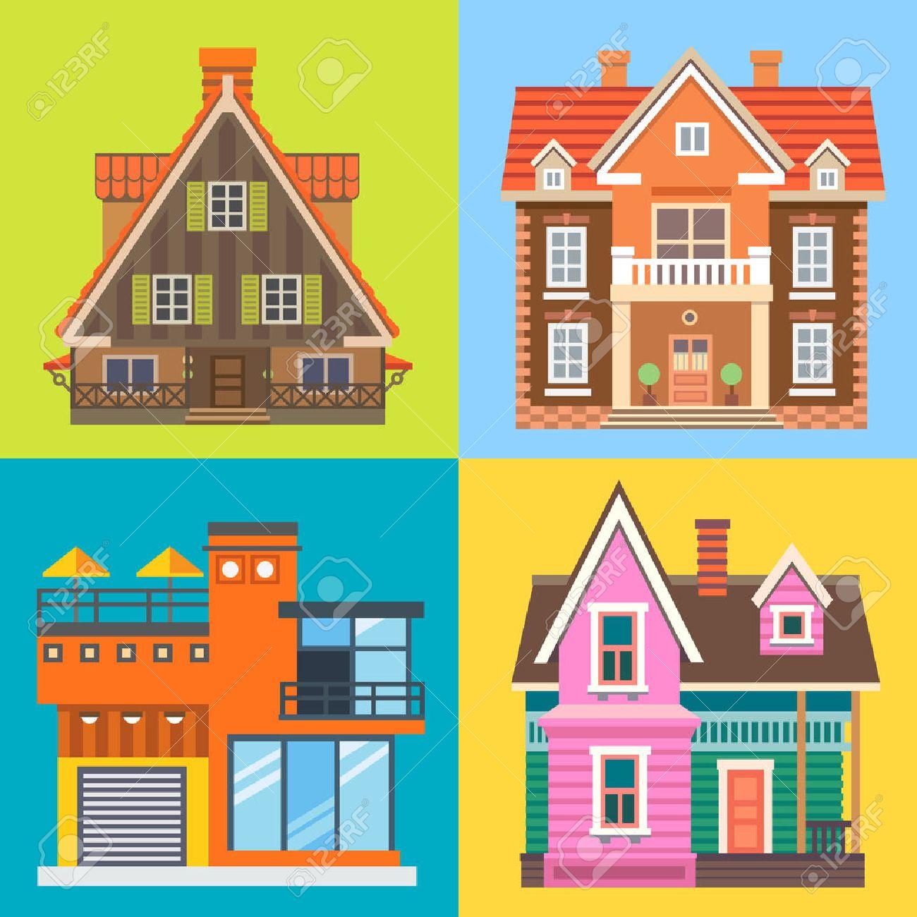 Divers maison des bâtiments: maison chalet en bois maison de campagne  moderne brique manoir anglais. Illustrations vectorielles plats