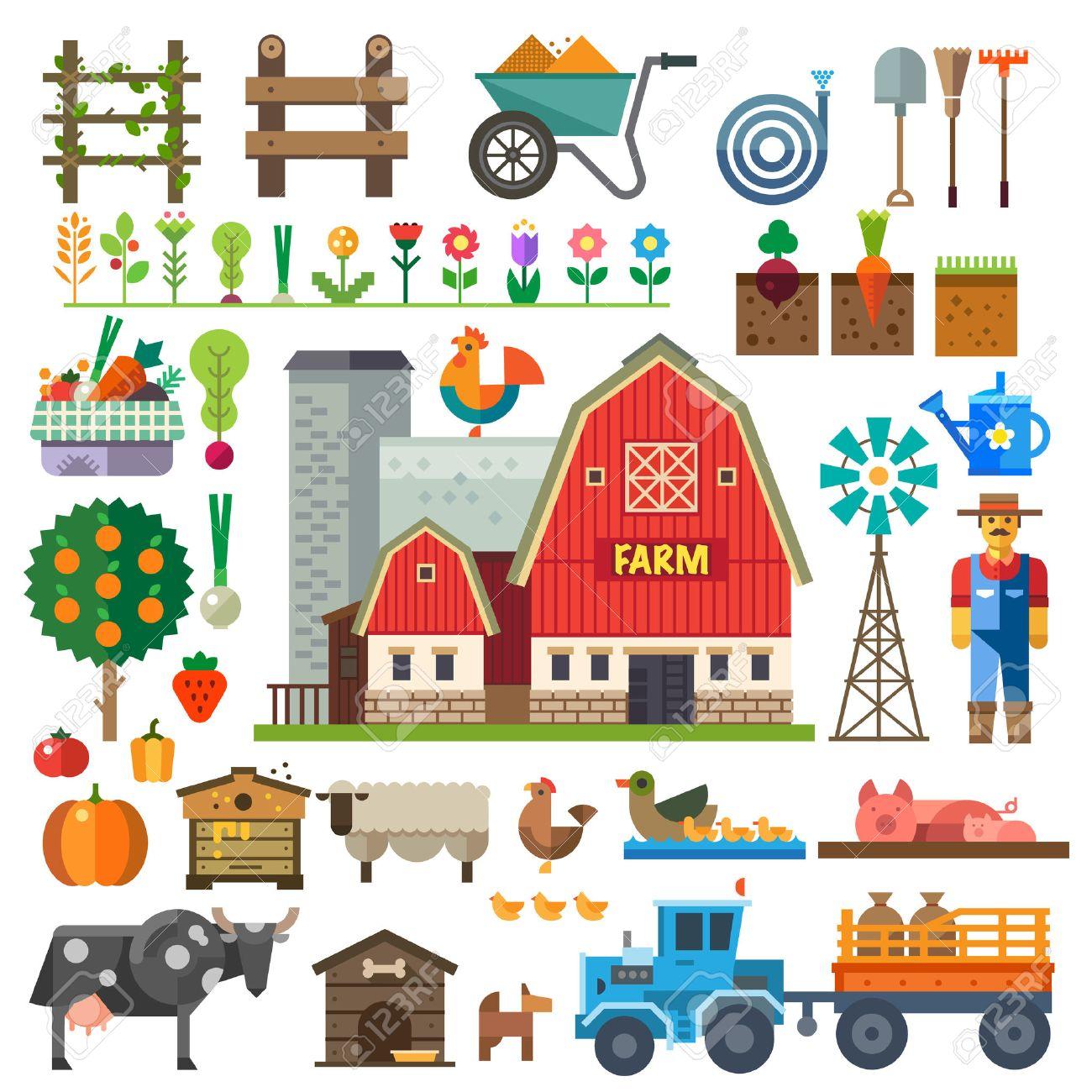 村の農場。ゲームの要素: スプライトとタイル セット。ベッドの木の花