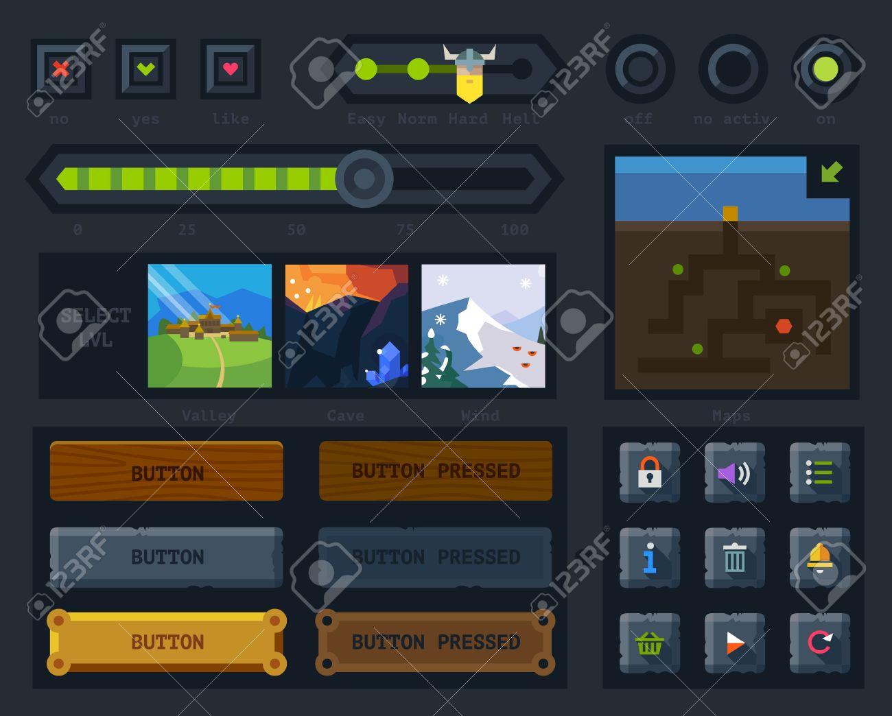 Banque d images - L interface utilisateur pour le jeu  touches de carte et d icônes  contrôles et réglages des niveaux. Appartement style vecteur 75643d2e8083