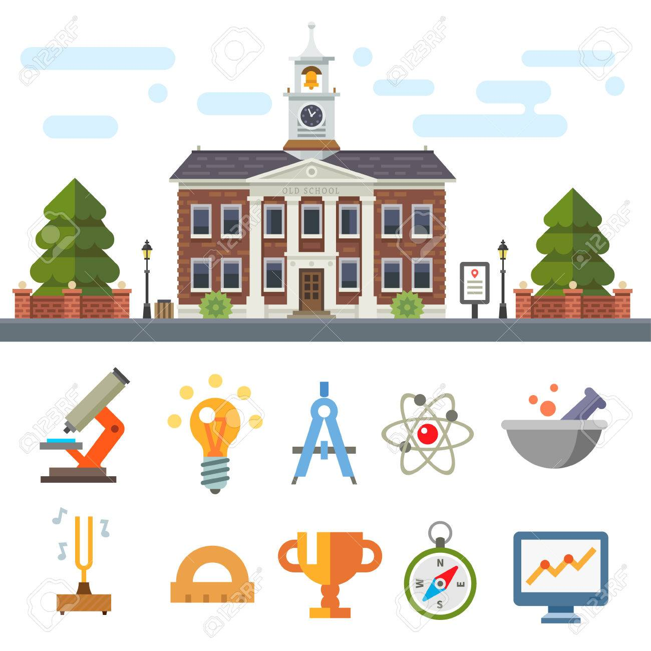 School Building Cityscape Symbols Of Education And Science
