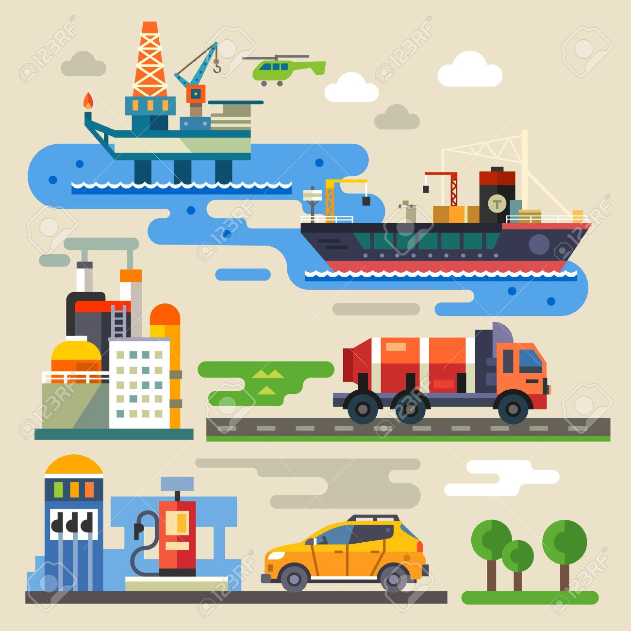 Oil rig transportation car refueling. Industry and environment. Color vector flat illustration Stock Vector - 41159804