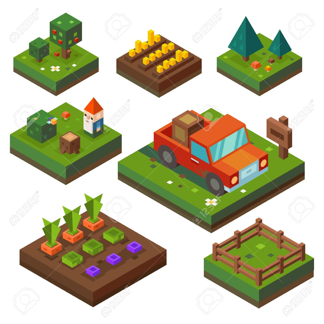 Vegetable garden cartoon - Vegetable Garden Farm At Harvest Time Vegetable Garden And Agriculture In Isometry