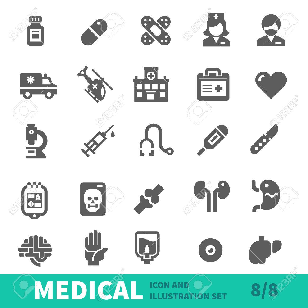 Medical icons symbols healthcare organs and body parts in medical icons symbols healthcare organs and body parts in medical icon vector set stock biocorpaavc Images