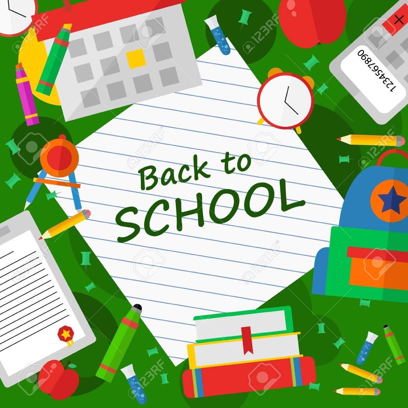 本文イラスト ポスターを学校に戻るのイラスト素材ベクタ Image