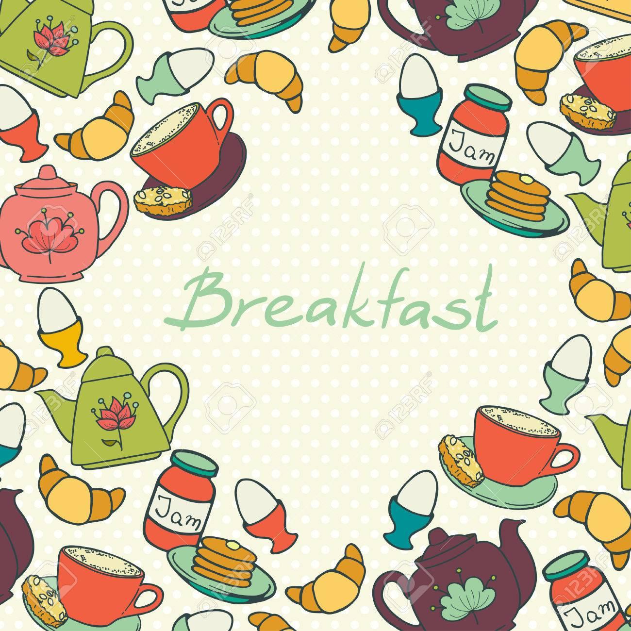 Frühstück Grenze Mit Kaffeetasse, Croissant, Gekochtes Ei, Teekannen ...