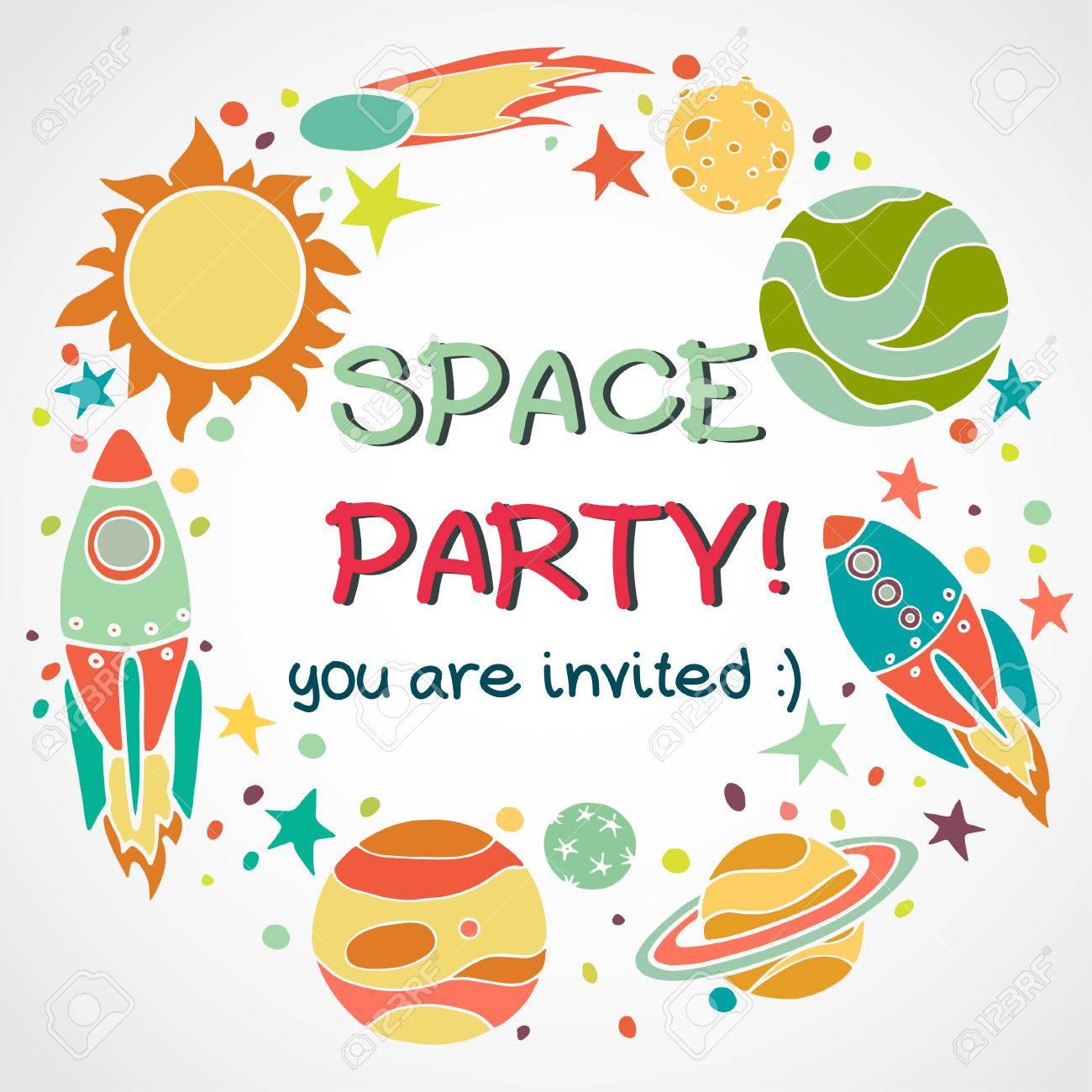 Conjunto De Elementos De Espacio De Dibujos Animados En Círculo Cohetes Planetas Y Estrellas Dibujado A Mano De Fondo Infantil Invitación De La
