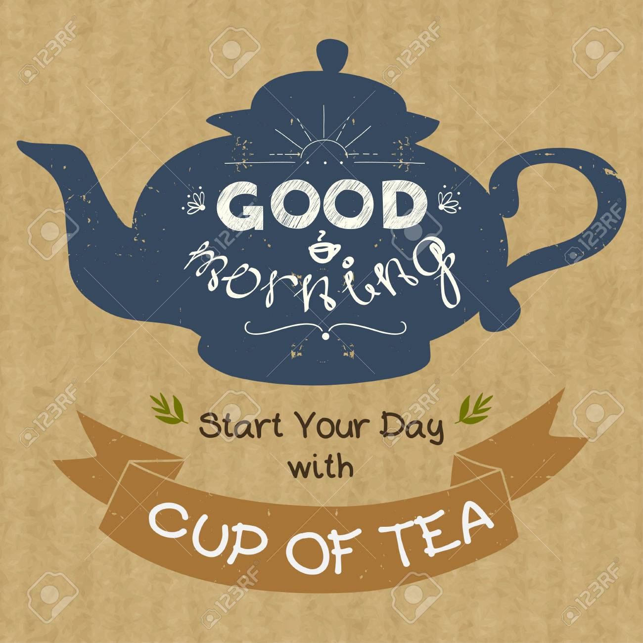 Hand Drawn Silhouette Of A Tea Pot With Place For A Text In Ribbon