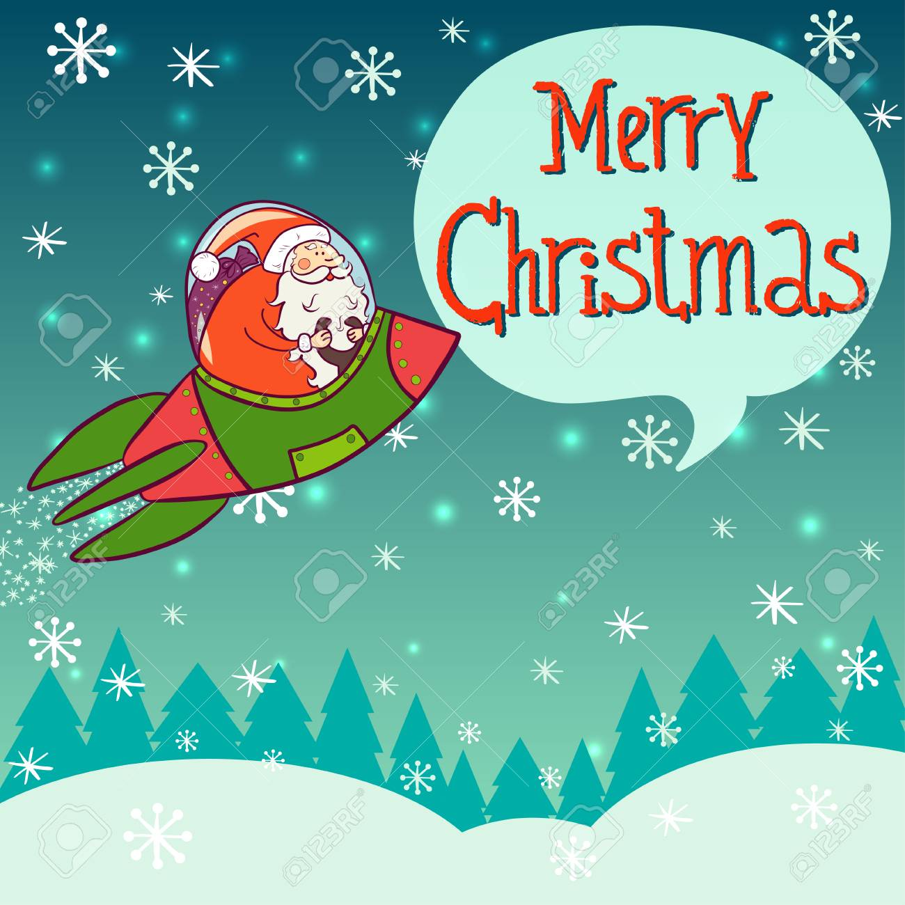 christmas invitation or greeting card template with funny cartoon santa claus flying in space rocket