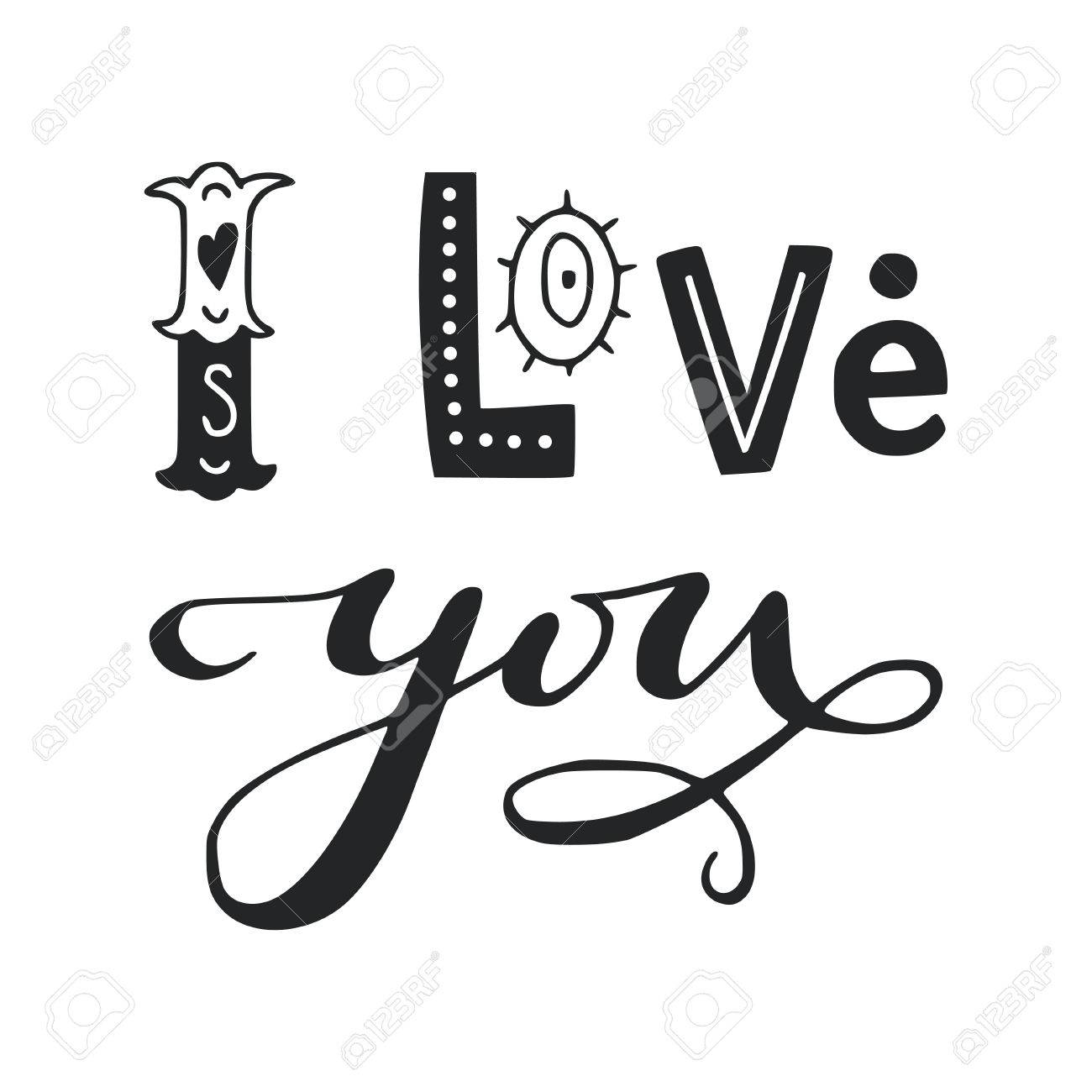 Black And White I Love You Lettering Phrase Vintage Typography