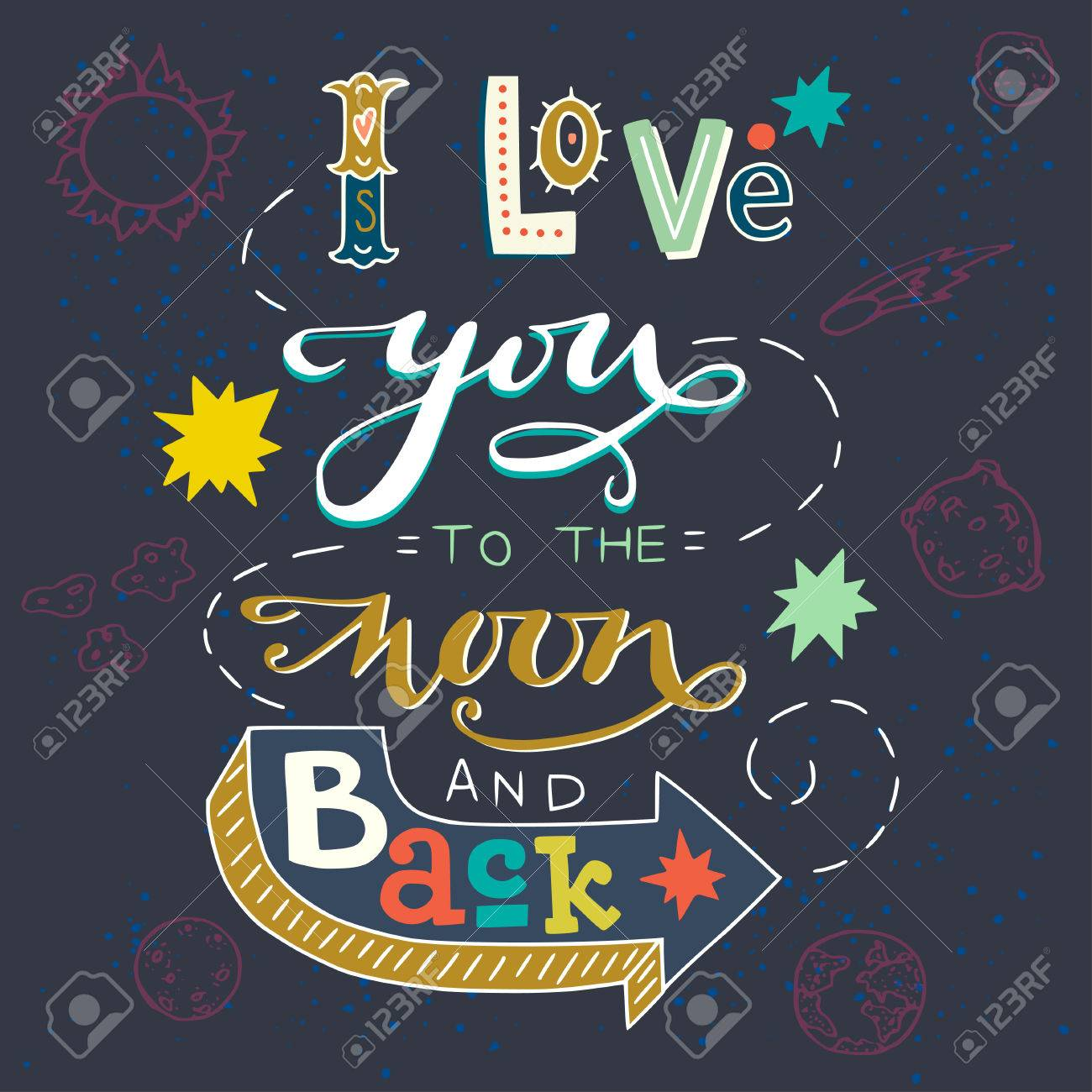 Cute Colorful I Love You To The Moon And Back Typography Poster