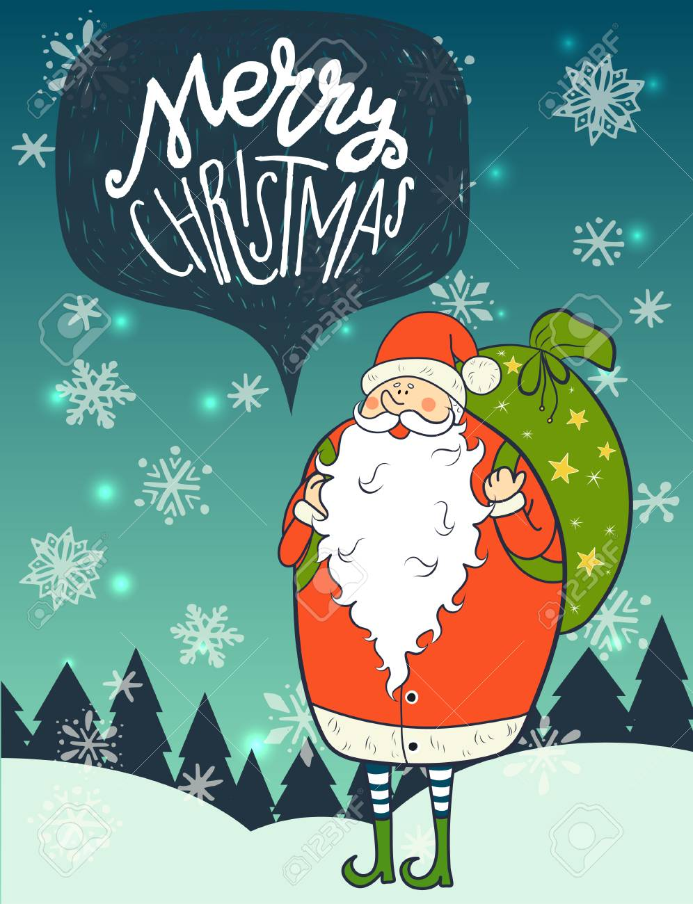 Merry Christmas Hand Lettering And Funny Cartoon Santa Claus ...