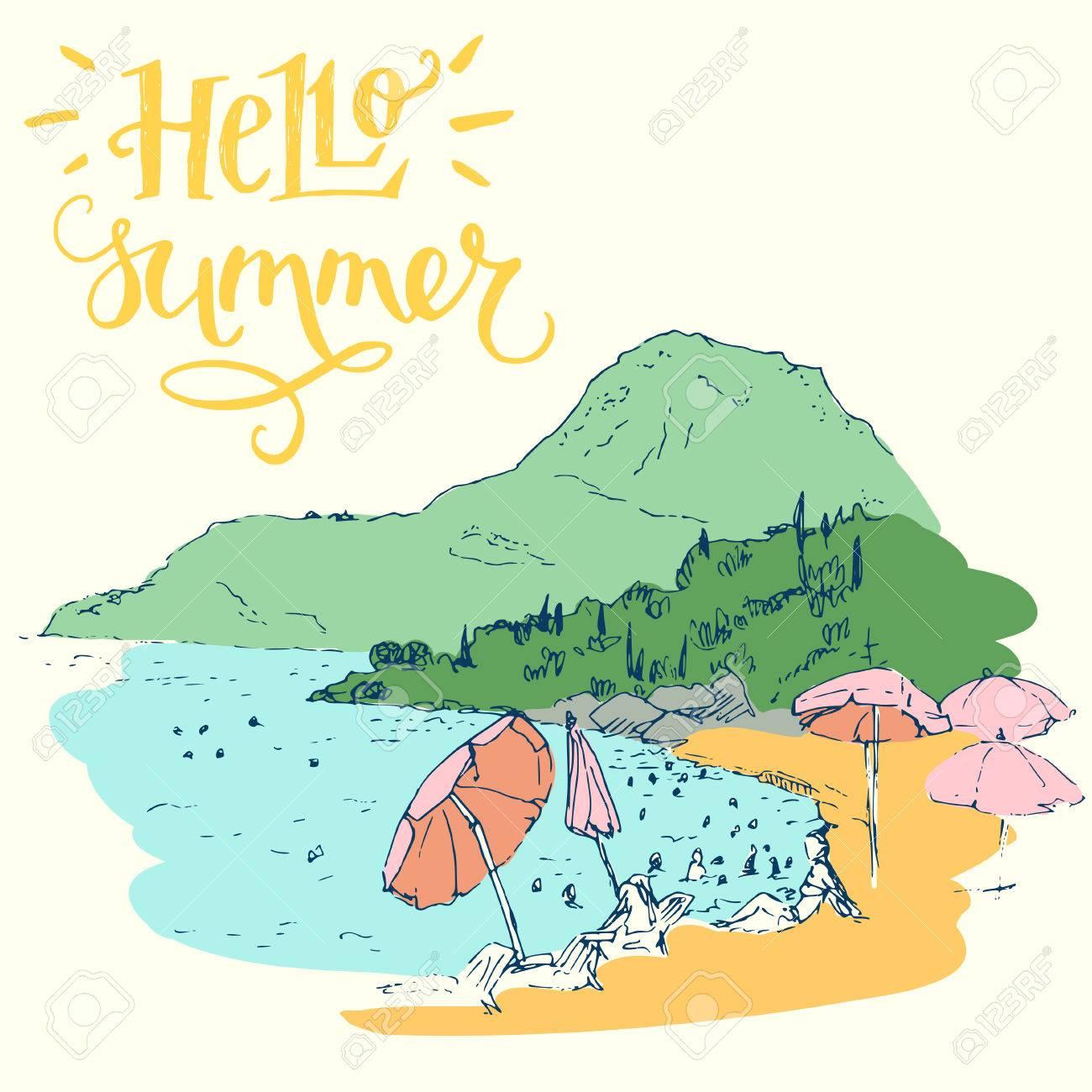 Dessin De Style Croquis De Vacances D Ete Page Sketchbook Voyage Avec Couleur Croquis A Main Levee De La Mer Au Montenegro En Europe Et Elegant Lettrage A La Main Bonjour Summer Clip