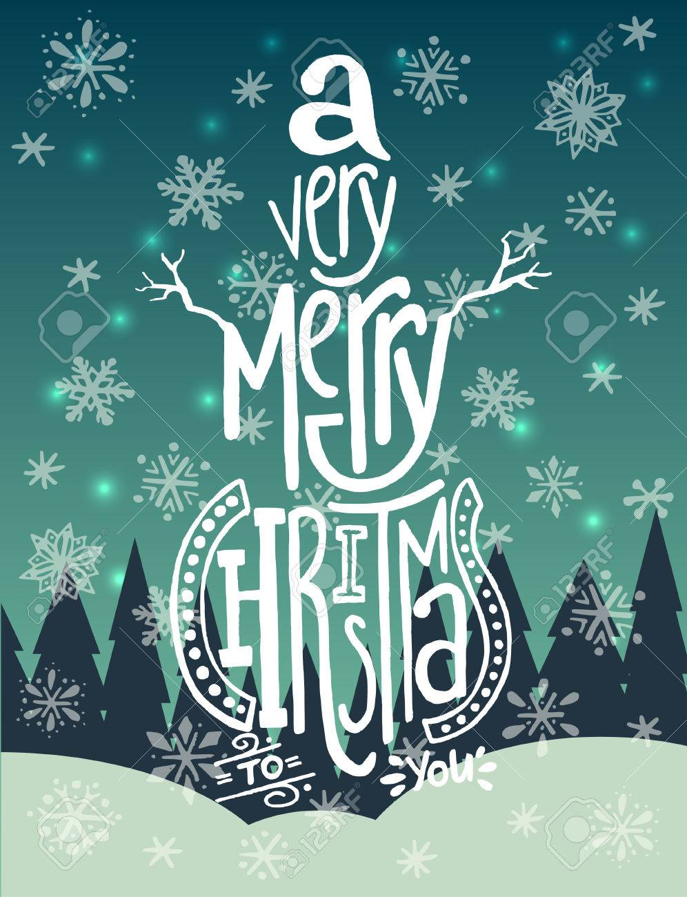 A Very Merry Christmas\' Handwritten Quote In A Shape Of A Snowman ...