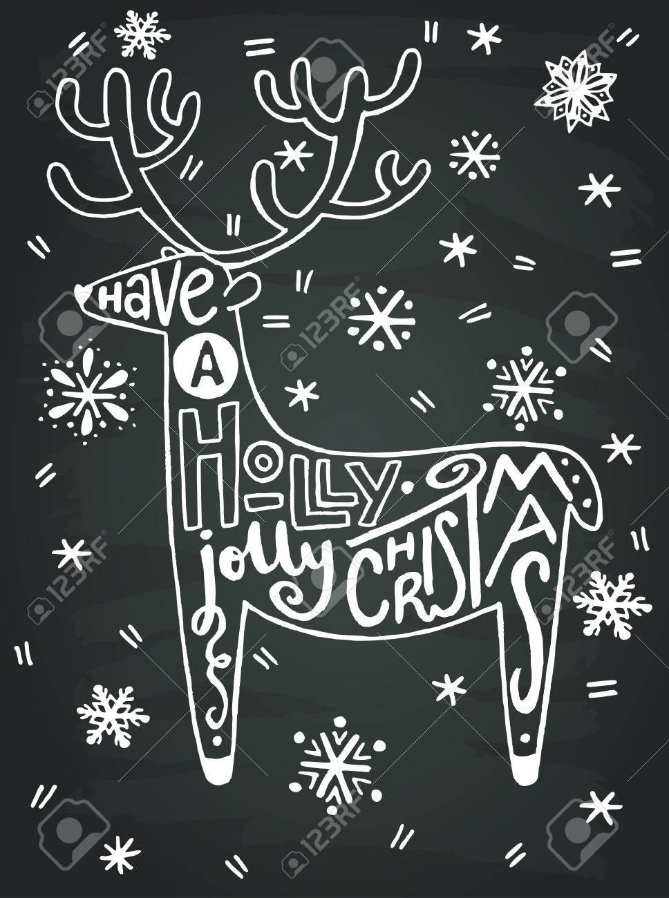 Avoir Un Houx De Noël Joyeux De La Main Citation écrite Dans Une Forme D Un Renne Avec Des Flocons De Neige Dessinés à La Main Sur Le Fond De Tableau
