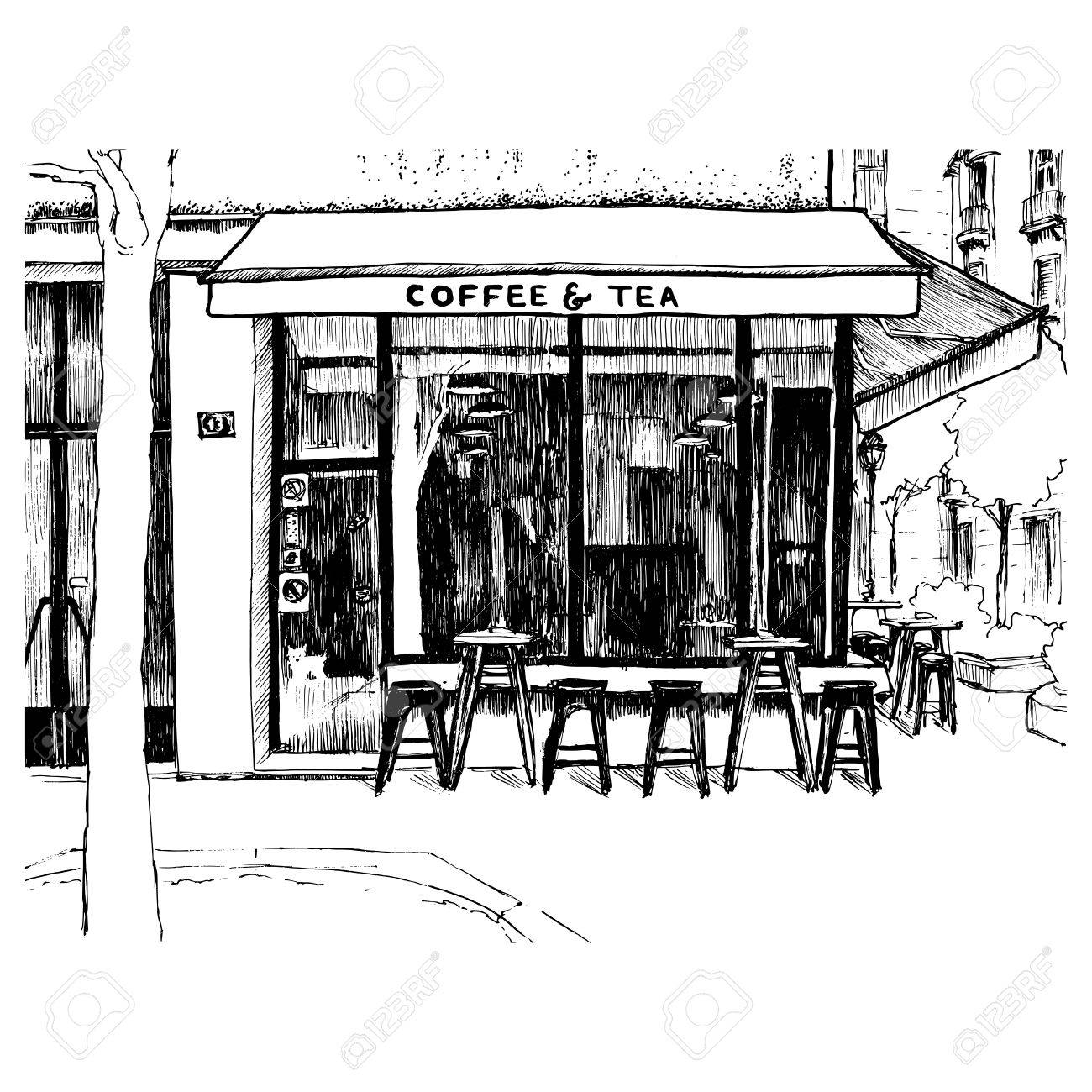 Freehand Sketch With The View On Coffee Shop Window Vector Illustration Of Small