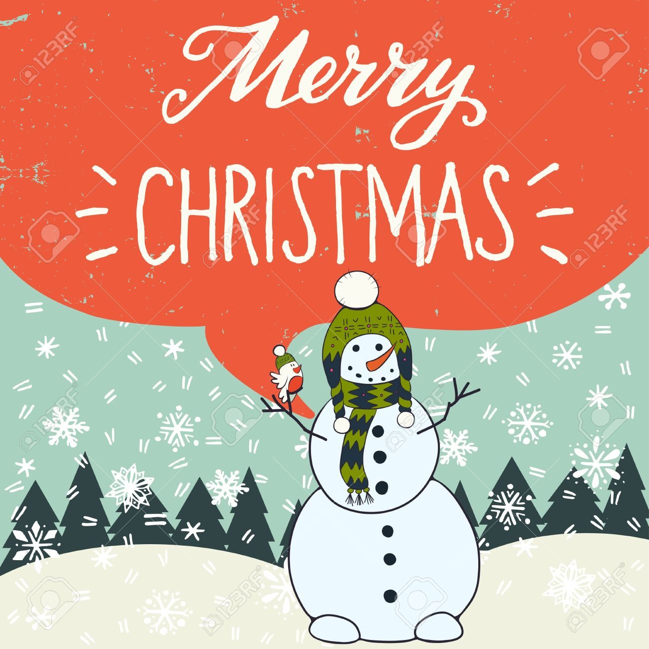 Merry Christmas Hand Lettering With Funny Cartoon Snowman, Fir ...