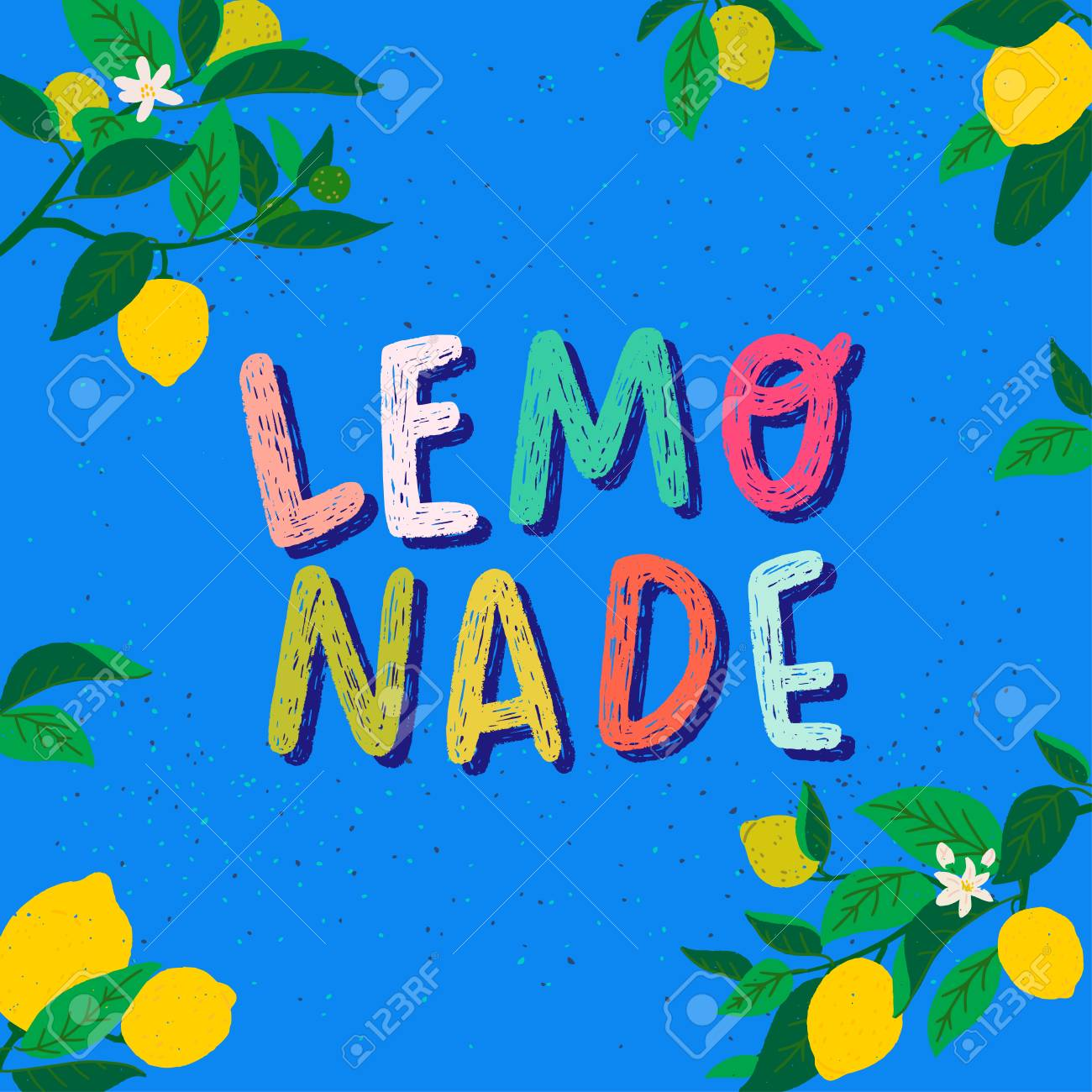 Joyful summer mood card with hand drawn lettering text Lemonade and frame of citrus fruits, flowers and leaves. Colourful typography inscription on rough blue background. Refreshing beverage poster - 126194679