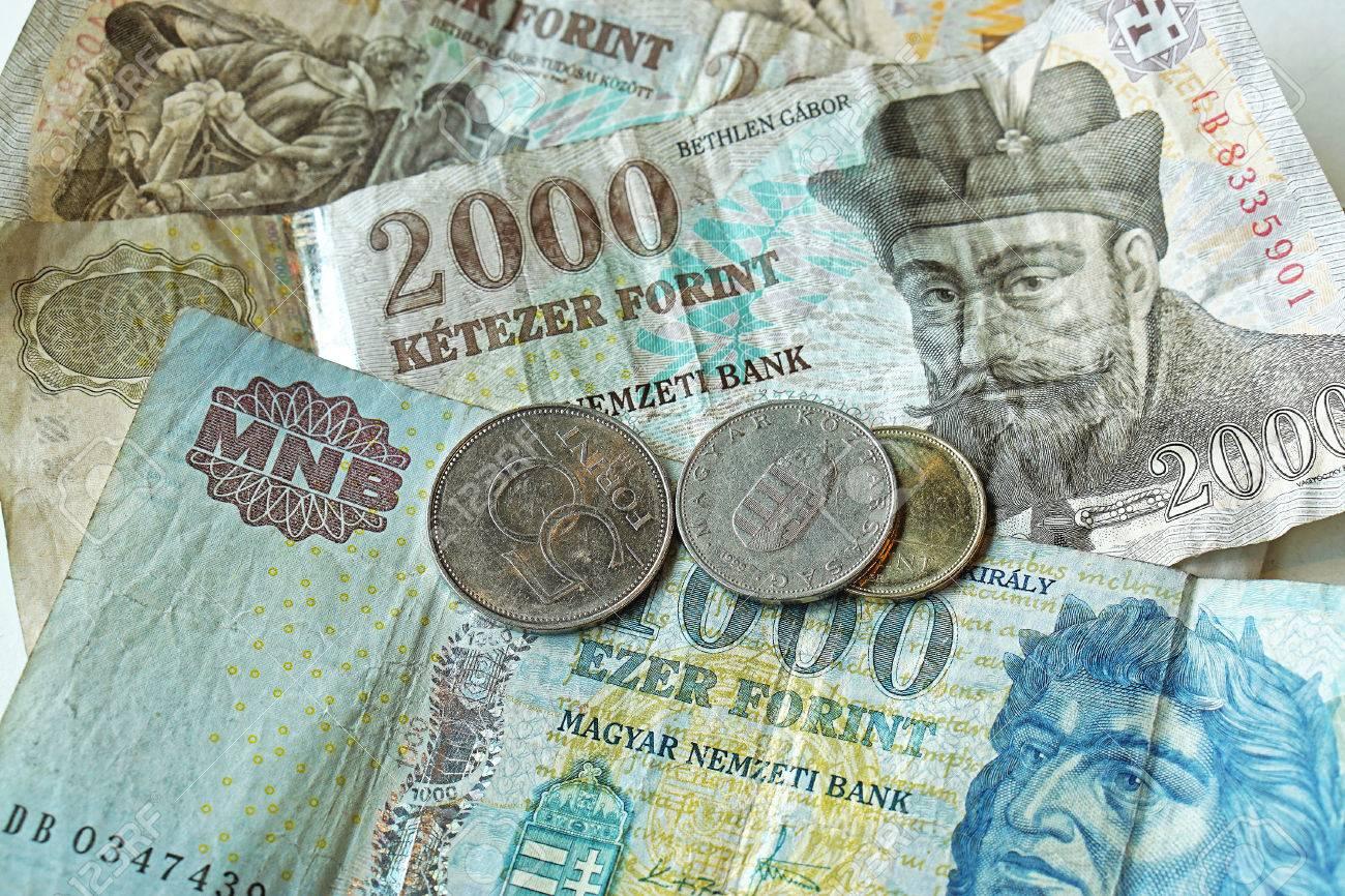 ハンガリー フォリント紙幣と硬...
